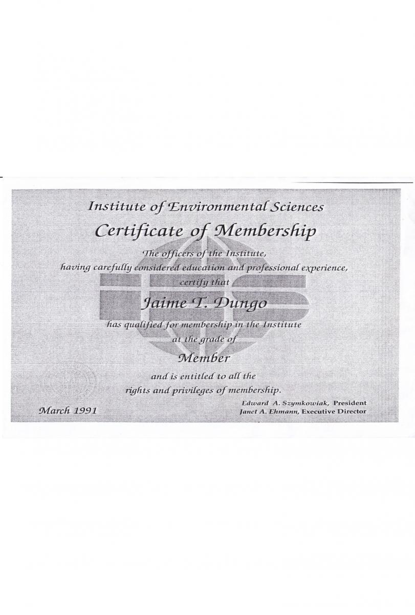 Certificaction of Environmental Sciences
